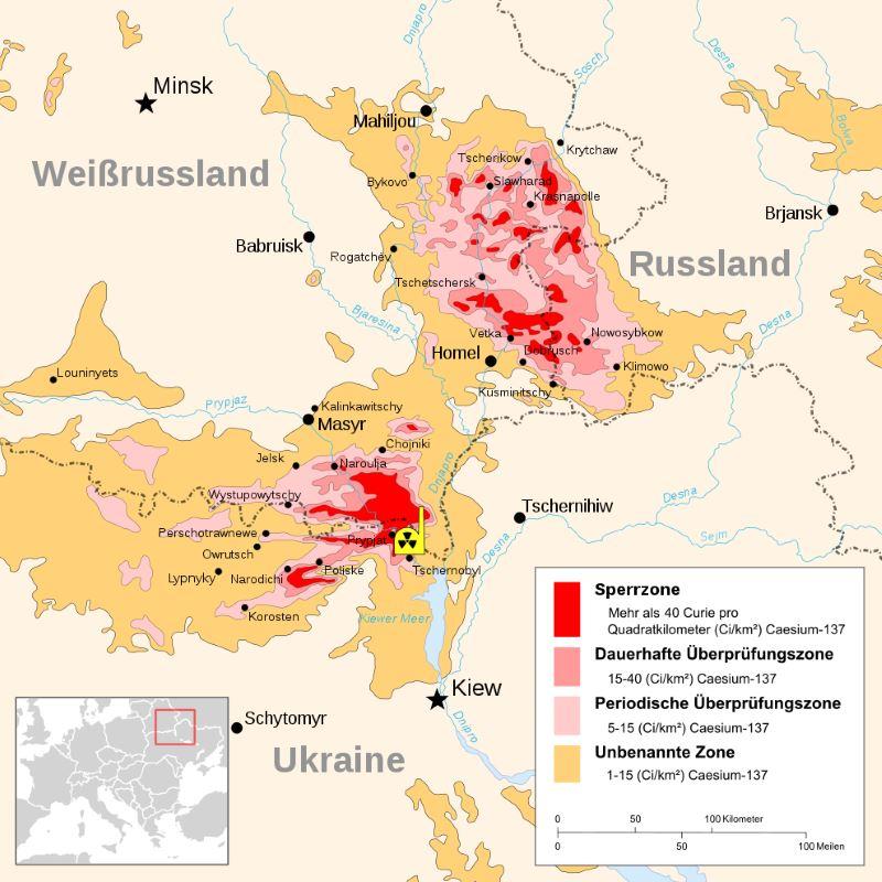 Karte der kontaminierten Gebiete